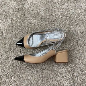 Zara block heel two toned sandals